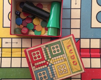 Vintage Ludo game with original board and box vintage packaging. British Made. For the collector of vintage games.