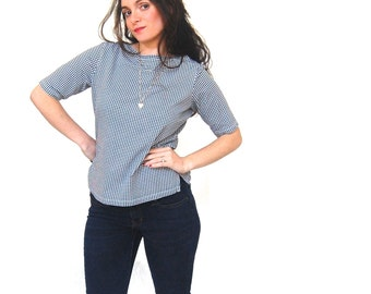 Boat Neck Gingham checkered T shirt