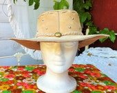 Leather Western/Boho/Hippy Cowboy Hat With Studs and Braided Leather Trim