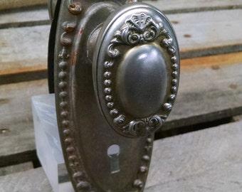 Vintage Nickel Finish Victorian Knob Set with Escutcheons