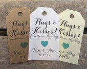 Small Wedding Gift Tags - Hugs and Kisses - Wedding Favor Tags - Customizable Personalized (WT1463)