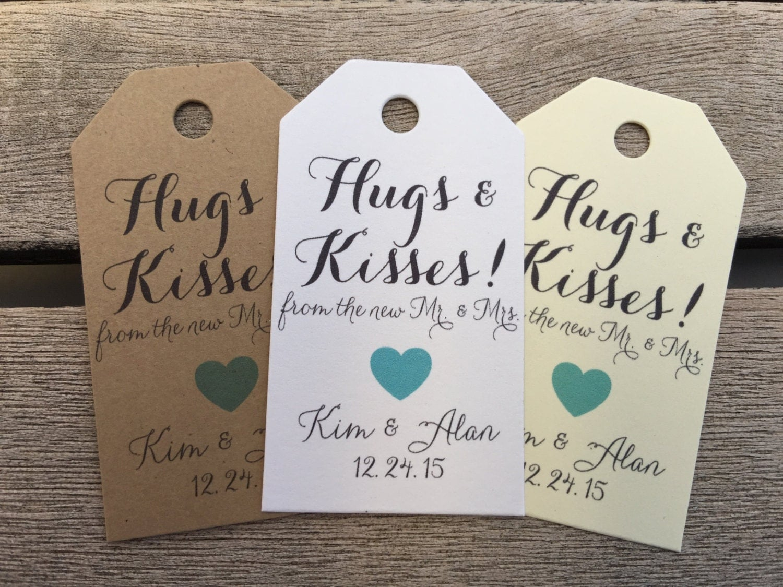 Small Gift For Wedding: Small Wedding Gift Tags Hugs And Kisses Wedding Favor Tags