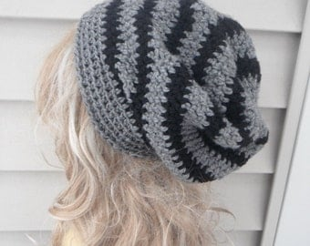 Crochet Hat, Women's Hat, Women's Accessories, Fashion Accessories, Winter Hats, Slouchy Hat, Black And Grey Hat
