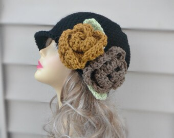Womens Hats Crochet Hat with Flower, Crochet Beanie Hat, Womens Accessories, Winter Accessories