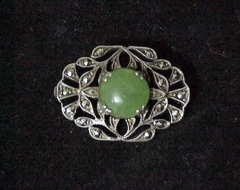 Jade Brooch/ Sterling Silver  c1920 Art Nouveau
