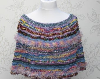 Knit Striped Capelet, Girl's Summer Poncho, Women's Spring Capelette, Rainbow Capelette, Spring Colours Ponchette
