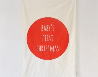 ON SALE Christmas Blanket, Modern Baby Blanket, Newborn Blanket, Modern Nursery Gift, Christmas Gift