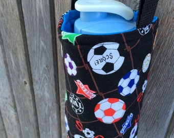 Water Bottle Carrier/Sling (Adjustable Strap)  Soccer Fabric, insulated