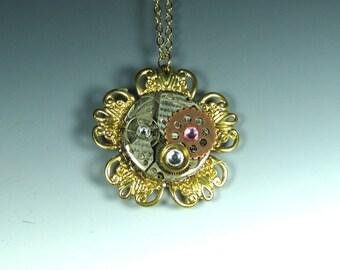 Gold Tick-Tock Flower Steampunk Necklace , steampunk flower, steampunk pendant.