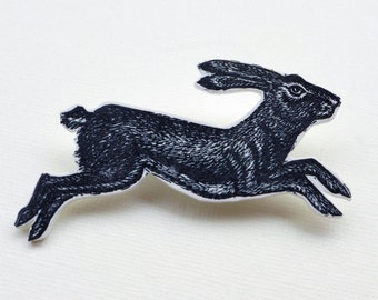 Hare Brooch, hare badge, running hare pin brooch