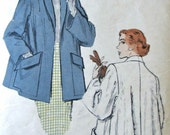 Vintage 1951 Butterick 5625 Sz 16, Bust 34 Swing Coat w/ rolled collar and huge pockets