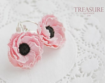 Delicate soft pink anemones flower earrings, floral earrings, pink flower earrings, pink anemones, elegant earrings, wedding jewel