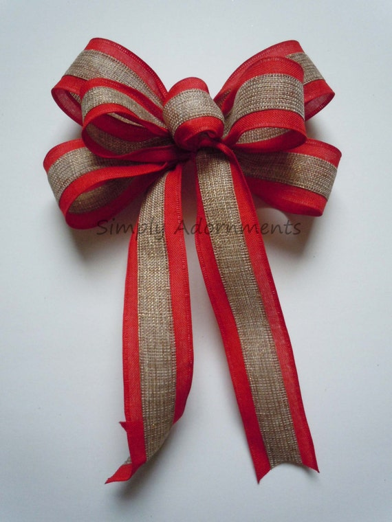 Rustic Natural Red Burlap Bow Rustic Burlap Wedding Bow Christmas Door hanger Bow Burlap Ornament Bow Burlap Winter Holiday Gift Wrap Bow
