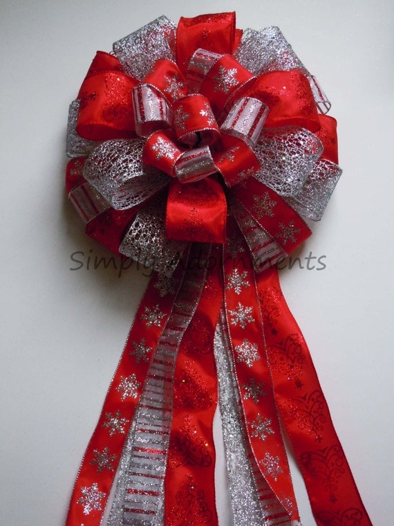 Red Silver Snowflakes Christmas Bow Silver Red Snowflakes Christmas Tree Top Bow Winter Holidays Decorative Bow Present Gift Topper Bow