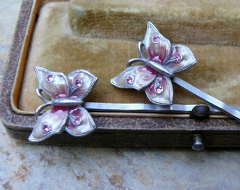 Vintage Butterfly Hair Jewelry, Pink Enamel Bobby Pins, LeT's FLY AwaY!!