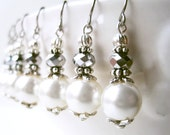 Cream Pearl Earrings. Ethereal Bridal Earrings. Handmade Silver and Ivory Wedding Jewelry.Silver and Pearl June Birthstone Jewelry.