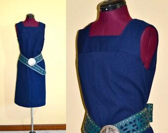 1970s Vintage Checkaberry Blue Shift Dress size L XL bust 38
