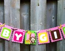 Baby Girl Safari/Jungle Theme Banner, Zoo Animals, Baby Shower decorations, Purple, Zebra, Hippo, Monkey, Elephant, Party Decor