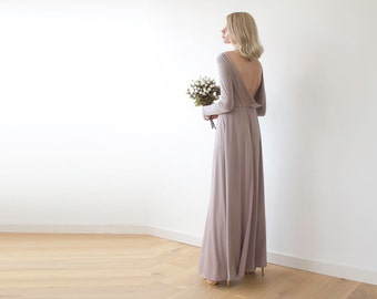 Open back maxi taupe dress with long sleeves , Backless maxi taupe gown 1041