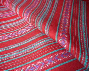 Peruvian Fabric, Andean Fabric, Woven, Red Sanata, 2 Yards