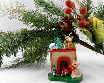 Vintage Cat Ornament Fireplace and Toys Holiday Cheer Red Green White Festive black friday sale cyber monday sale