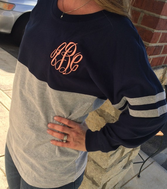 Spirit Shirt Navy/Heather Grey Monogram by MONOGRAMSINC on ...