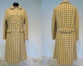 Tan & Cream Houndstooth Wool 1960's Lined Lightweight Coat 'I. Magnin and Co.  D'amselle' Label, Union Made