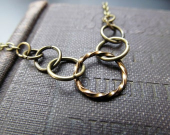 Bronze Hoop Necklace - Dainty Minimalist Layering Necklace - Last One!