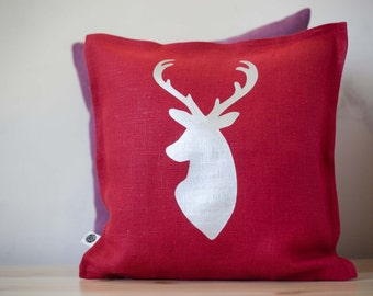 Holiday pillow - Deer head pillow cover for home decor - reindeer red cushion case - decorative Christmas decor pillow  0127