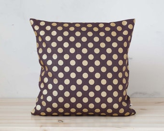 Linen brown pillow cover with gold polka dots - decorative pillows cover - shams - throw pillows - polka dot pattern 0091