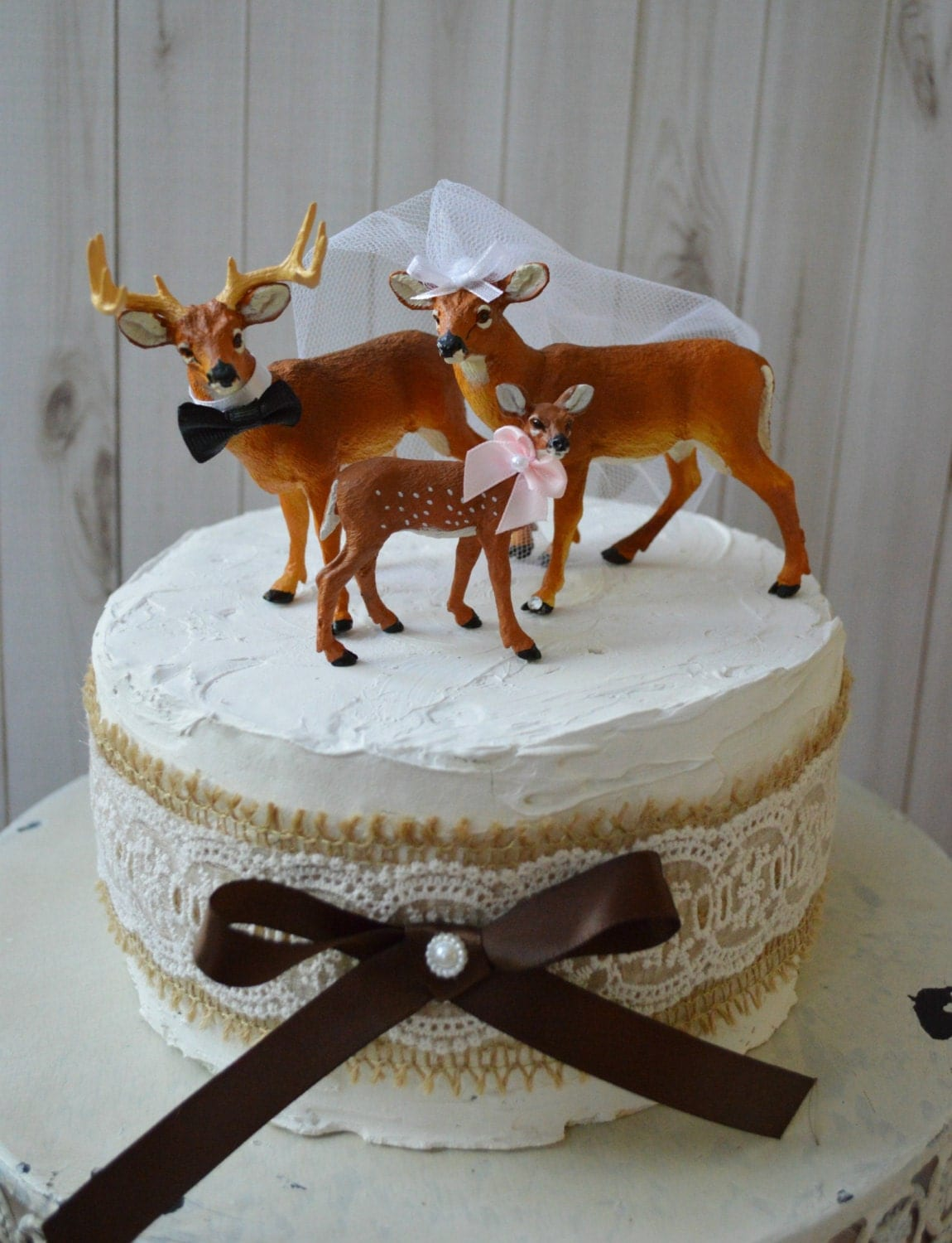 buck and doe wedding cake toppers buck doe and fawn wedding cake topper family wedding cake 12203
