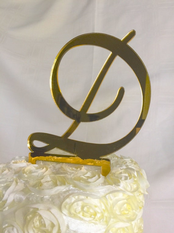 gold initial cake toppers for wedding cakes items similar to custom gold monogram cake topper d 14796