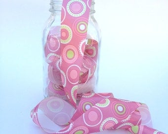 "1 1/2"" Single Face Satin Ribbon - Pink Circle Mania - 5 Yards"