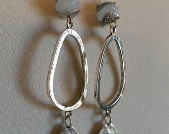 Silver dangle Ocean Opal Swarvoski crystal blue quartz Earrings