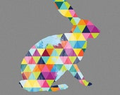 Rabbit Hare Print Poster Bunny Animal Design Bright Colorful Colourful Geometric Grey Gray Wall Art Home Decor Gift Easter Childrens bedroom