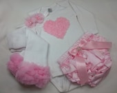PINK HEART OUTFIT - Pink Rose Heart on a Long Sleeve Onesie w Matching Leg Warmers, Satin Ruffled Diaper Cover and Beaded Flower Headband, ,