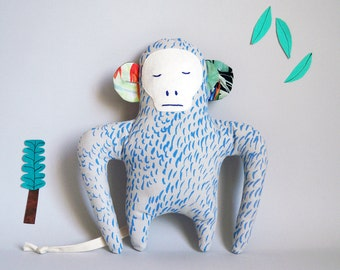 Doll, Hector The Monkey, Blue pelage, Silkscreen