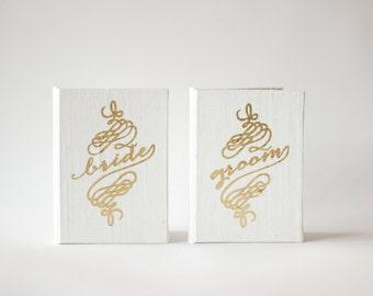 Wedding Vow Book Pocket Sized Set - Bride and Groom Silk Folio Keepsake - Gold Foil Wedding Vow Holder