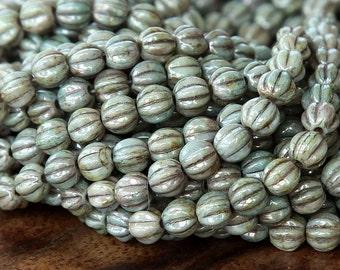 Opaque Green Luster Czech Glass Beads, 5mm Melon - 50 pcs - eP65431-05