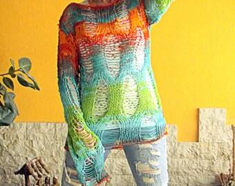 chandail tricot lche chandail de grunge main tricot top hippie pull tricot tunique top color vtements festival esprit libre femmes - Tunique Colore Femme