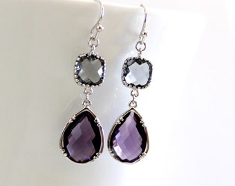 Amethyst Purple earrings, Gray Earrings, Bridesmaid Gift Wedding Earrings Bridal Jewelry ,Puple DanlgeEarrings, Gray Earrings, Gift