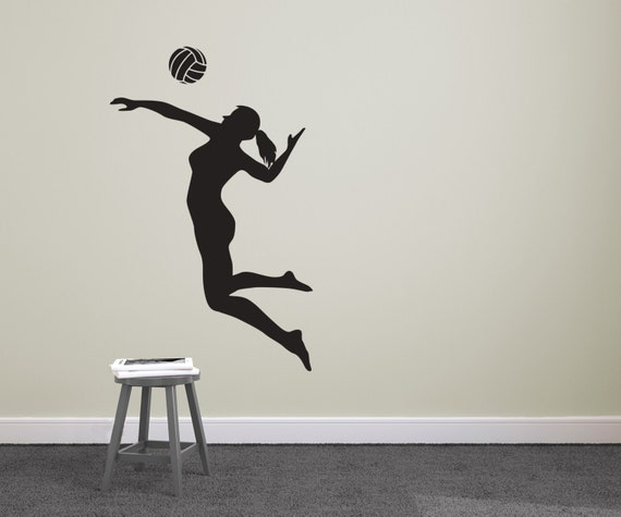 Volleyball Player Spiking Silhouette Sports Wall Decal - Vinyl volleyball wall decals