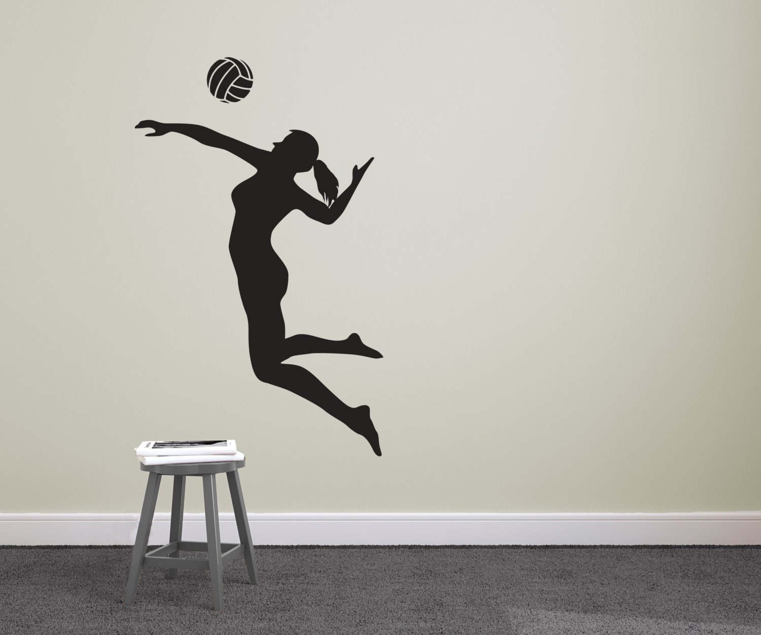 volleyball player spiking silhouette sports wall decal. Black Bedroom Furniture Sets. Home Design Ideas