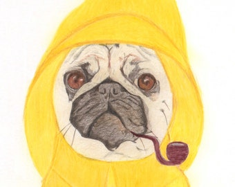 Captain Pug - Pug Gift Cards - Funny Fisherman Pug in Sou'wester with pipe