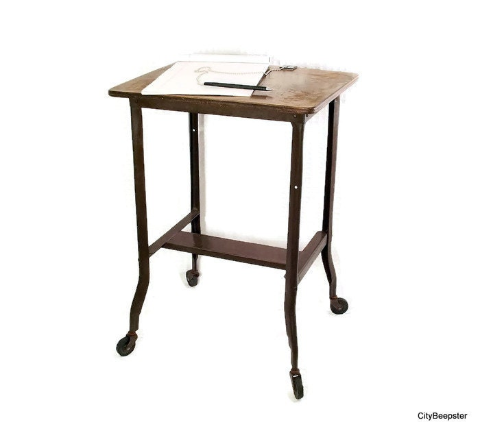 Vintage industrial table bedside table metal brown for Wood and metal bedside table