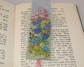 Bookmark Embroidered and Felted  - Cottage Garden Hollyhocks and Roses by Lynwoodcrafts