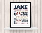 Wrestling  Word Art Print - Custom Colors -  Wrestler Print