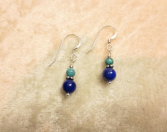 Turquoise & Lapis Lazuli Earrings, Sterling Silver