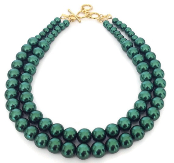 green pearl necklace forest green necklace green