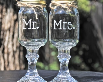 2 Redneck Hillbilly Wine Glasses, Mr and Mrs Redneck Wine glass set - Wedding